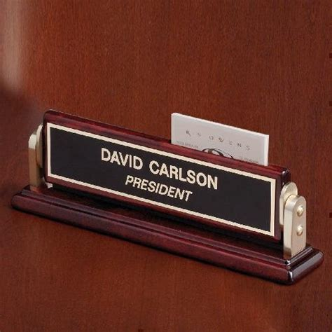 desk name plate with card holder desk wedge name plates
