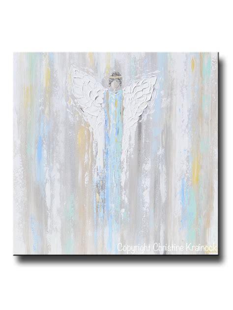 light blue wall art giclee print abstract art blue angel painting joyful
