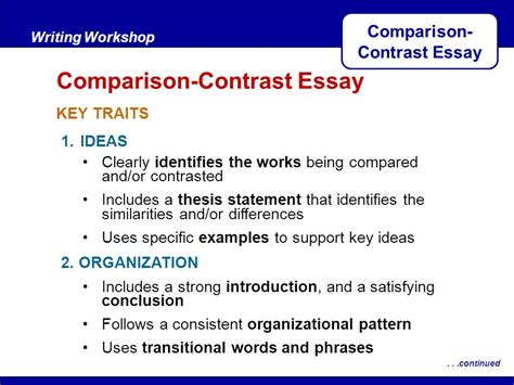 compare and contrast thesis statement exle comparison contrast essay ppt