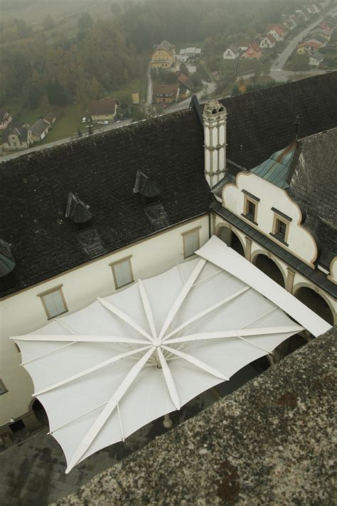 clauss markisen ochsenwang weitra castle relies on tenara 174 fabric for courtyard