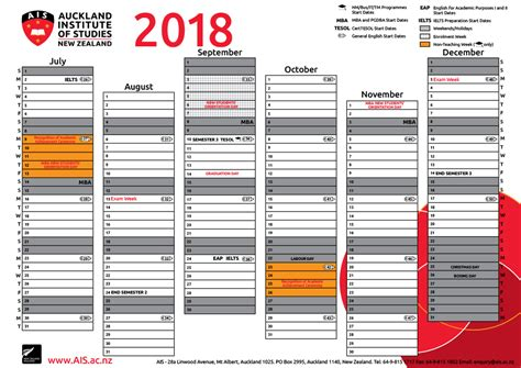 New Zealand Calend 2018 Academic Calendar Auckland Institute Of Studies Ais