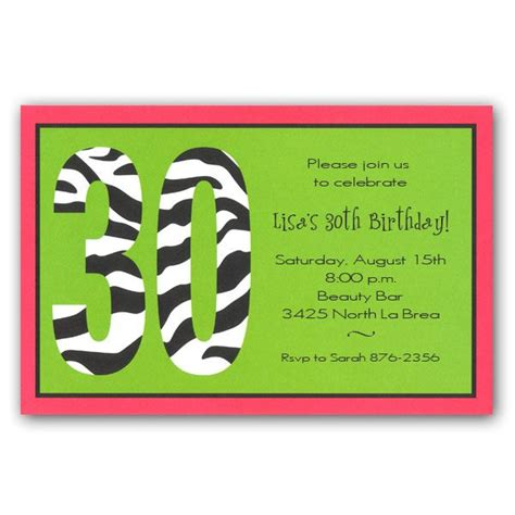 wording for 30th birthday invitations zebra 30th birthday invitations clearance paperstyle
