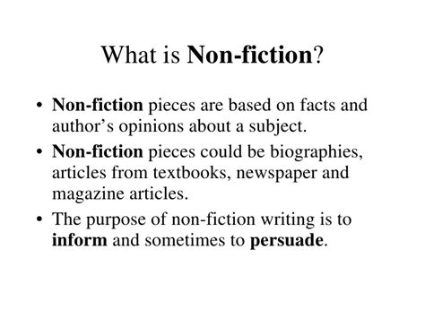 nonfiction biography definition fiction or nonfiction and point of view