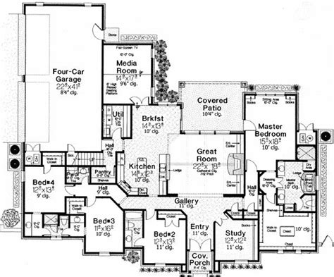 Single Story House Plans With Bonus Room by Luxurious Master Suite
