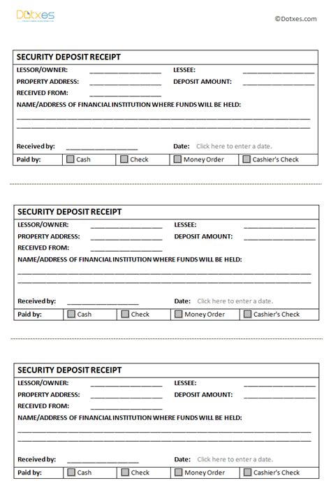 security deposit receipt template dotxes