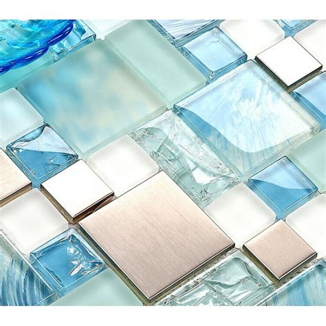 tile backsplash sheets blue glass mosaic sheets stainless steel backsplash