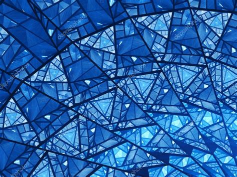 Blue Glass blue glowing stained glass fractal stock photo