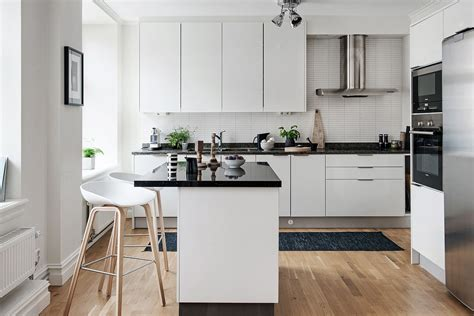 modern apartment kitchens black and white themed scandinavian apartment with modern