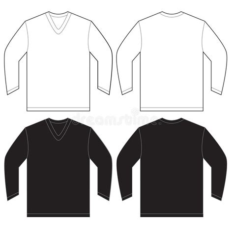 Black White Long Sleeve V Neck Shirt Template Stock Vector Illustration 63491152 Sleeve Shirt Design Template