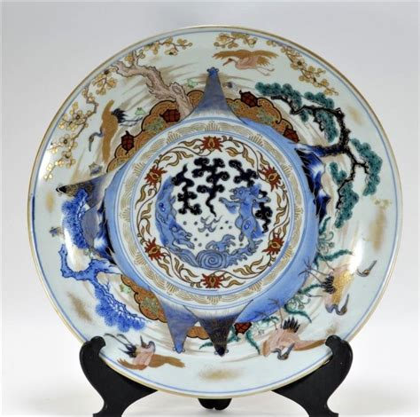 Kutani L by Japanese Kutani Porcelain Flying Crane Charger