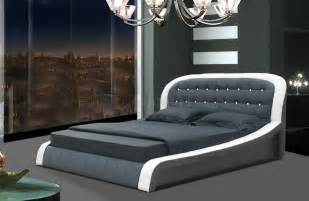Amp black leatherette modern bed w button tufted headboard shbs 2851