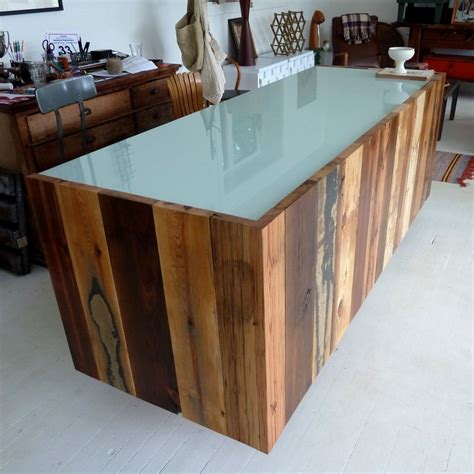 Wooden Reception Desk Buy A Handmade 11 Assorted Reclaimed Wood Reception Desk Made To Order From Design