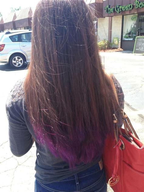 purple dip dye  brown hair hair pinterest brown