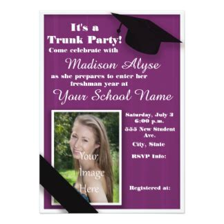 purple trunk college photo 5x7 paper invitation card