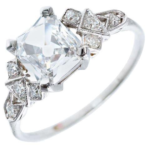 antique square cut platinum engagement ring at 1stdibs