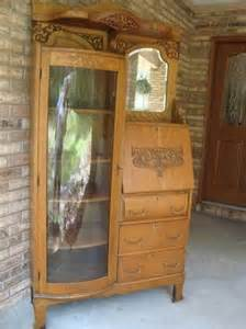 Antique Curio Cabinet With Desk 1920 S Antique Oak Side By Side Desk Curio