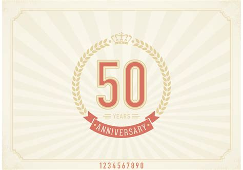 new year label vector free vector vintage 50 years anniversary label