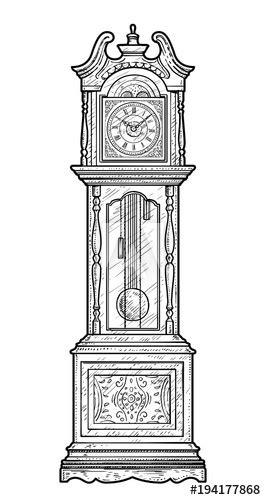 grandfather clock illustration drawing engraving ink