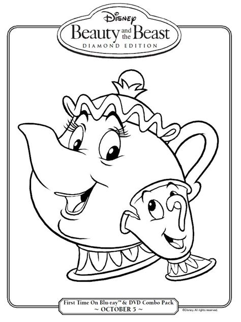 Beauty And The Beast Mrs Potts And Chip Coloring Page And The Tr Coloring Page