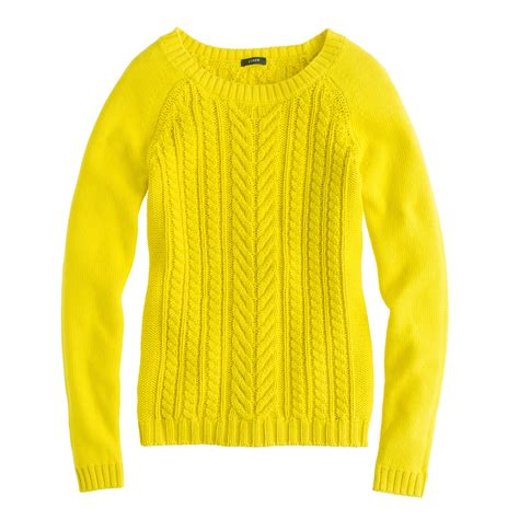 Yellow Sweater j crew cotton cable sweater in yellow lemon zest lyst