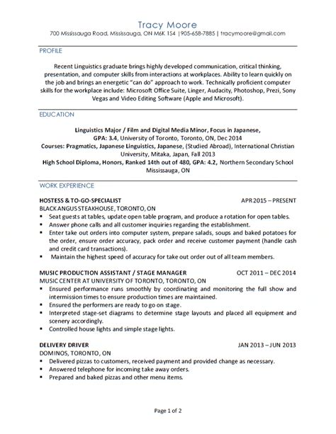 linguist resume new grad entry level