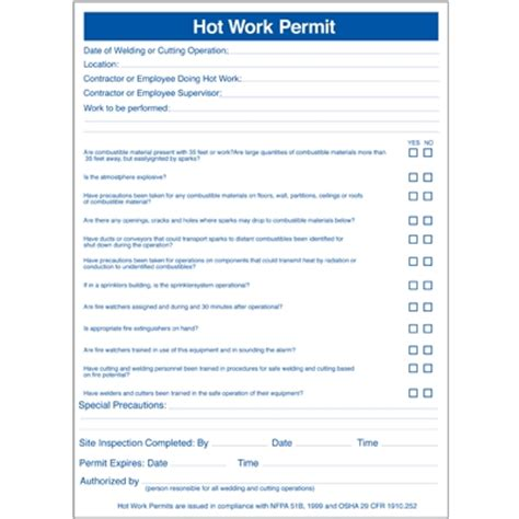 permits pad hot work permits seton in hot work permit