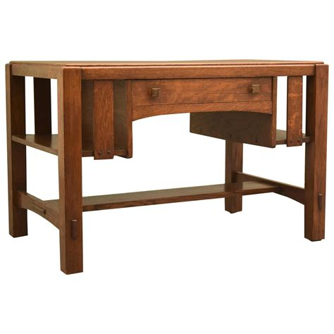 charles limbert arts and crafts library table desk circa