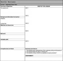 art lesson plan templates
