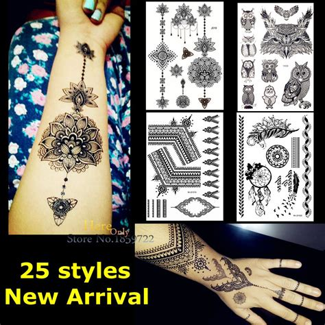 henna tattoo with india ink 1pc large indian mehdi black ink henna lotus flower