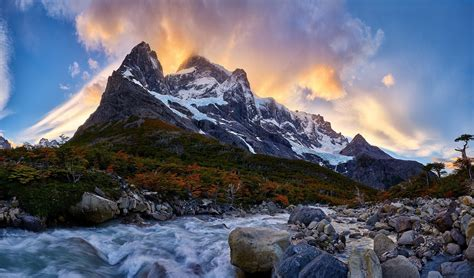 nature landscape mountain river sunrise forest