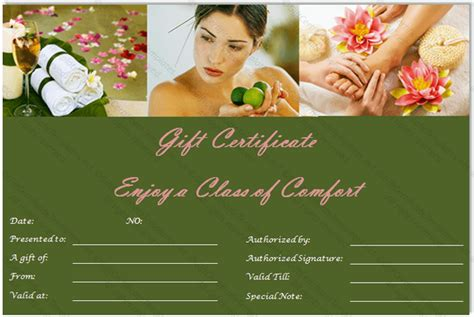 spa day gift certificate template green day spa gift certificate template