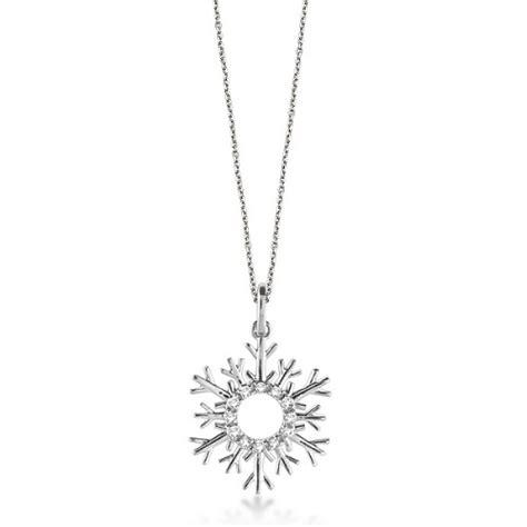 snowflake pendant necklace 14k white gold 0 10ct