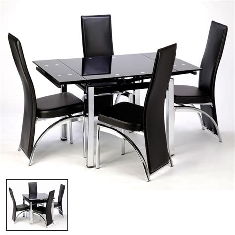 Extendable Glass Dining Table And Chairs Extendable Glass Dining Table In Black And 4 Romeo