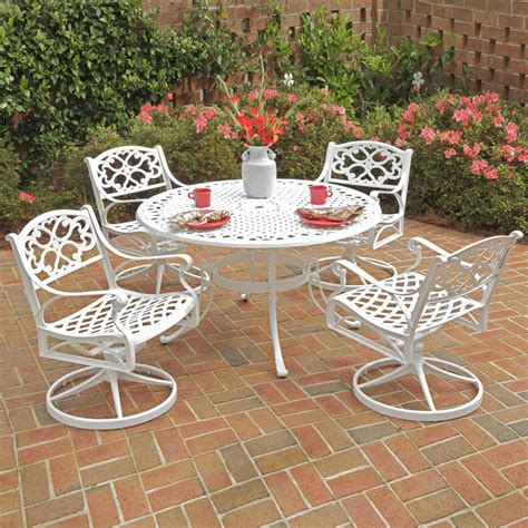 White Aluminum Patio Furniture Sets Shop Home Styles Biscayne 5 White Aluminum Patio Dining Set At Lowes