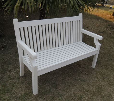 white patio bench sandwick winawood 3 seater wood effect garden bench