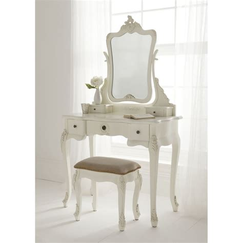 Table Vanity Mirror Ivory Stained Wooden Mirror Vanity Dressing Table And Ivory Wooden Stool With White Leather Seat