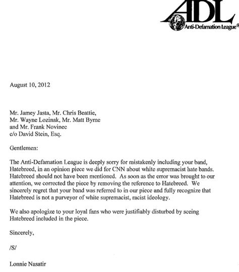 apology letter for cancellation of trip anti defamation league sends letter of apology to