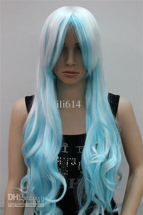 white and blue hair extensions curly hair white and light blue 24 costume wig from