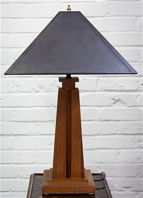 wood mission style table lamp  lavintagefurnishings