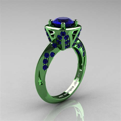 classic 14k green gold 1 0 ct blue