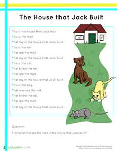 when was the house built the house that jack built worksheet education com