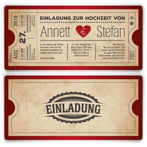 Einladungskarten Herz by Einladungskarten Zur Hochzeit Als Vintage Herz Ticket In