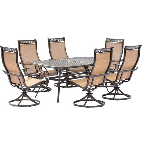 Swivel Rocker Patio Dining Sets Manor 7 Outdoor Dining Set With Six Swivel Rockers And A Large Cast Top Dining Table