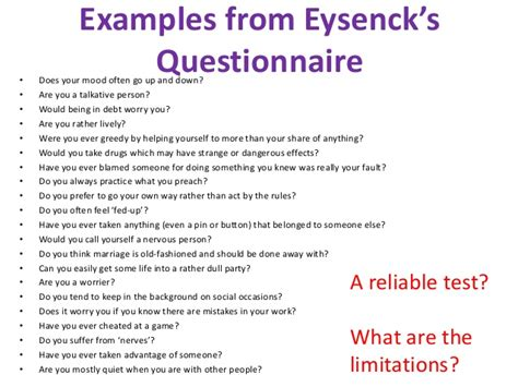 printable eysenck personality questionnaire personality 1