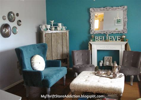 gray turquoise living room my thrift store addiction refresh your home gray turquoise living room tour