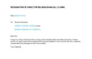 resignation letter director relinquishing all claims