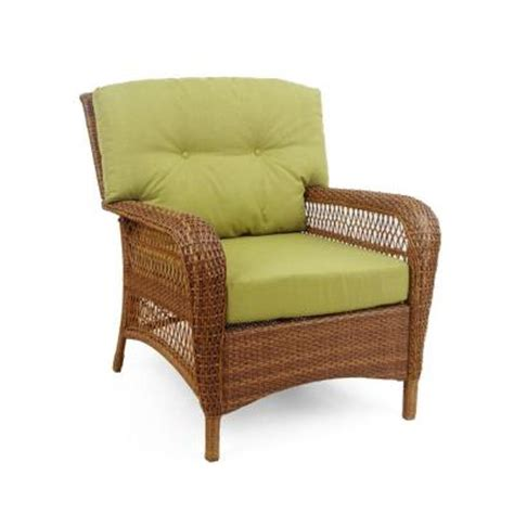 home depot patio furniture cushions martha stewart living charlottetown brown all weather wicker patio lounge chair with green bean