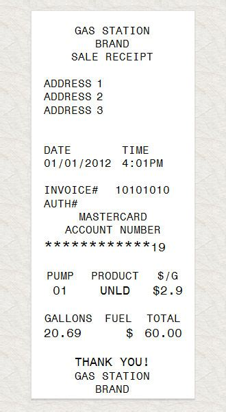 petrol receipt template gas station receipt