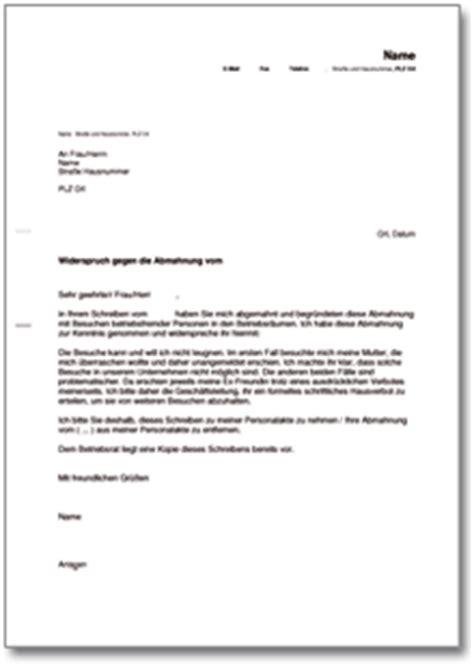 Anschreiben Adrebe 2 Personen Gegendarstellung Zur Abmahnung Wegen Besuchs Betriebsfremder Personen De Musterbrief