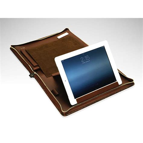 terra mini crocodile leather travel desk portfolio paolo